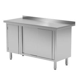 Werktafel met kastje links en schuifdeuren | 1200-1900mm breed | 600 of 700mm diep