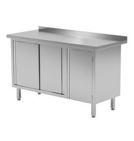 Werktafel met kastje rechts en schuifdeuren | 1200-1900mm breed | 600 of 700mm diep