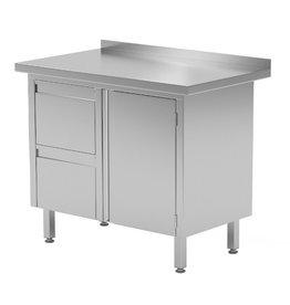 Werktafel met 2 lades links en klapdeur | 830-1000mm breed | 600 of 700mm diep