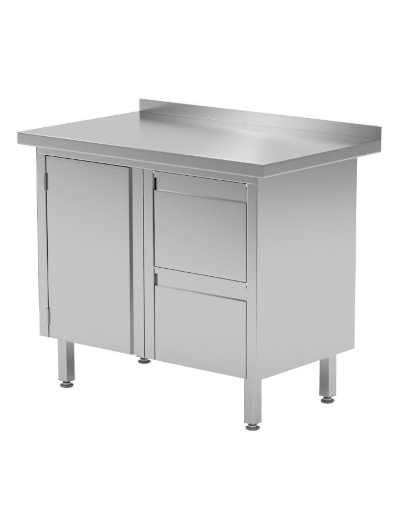 Werktafel met 2 lades rechts en klapdeur | 830-1000mm breed | 600 of 700mm diep