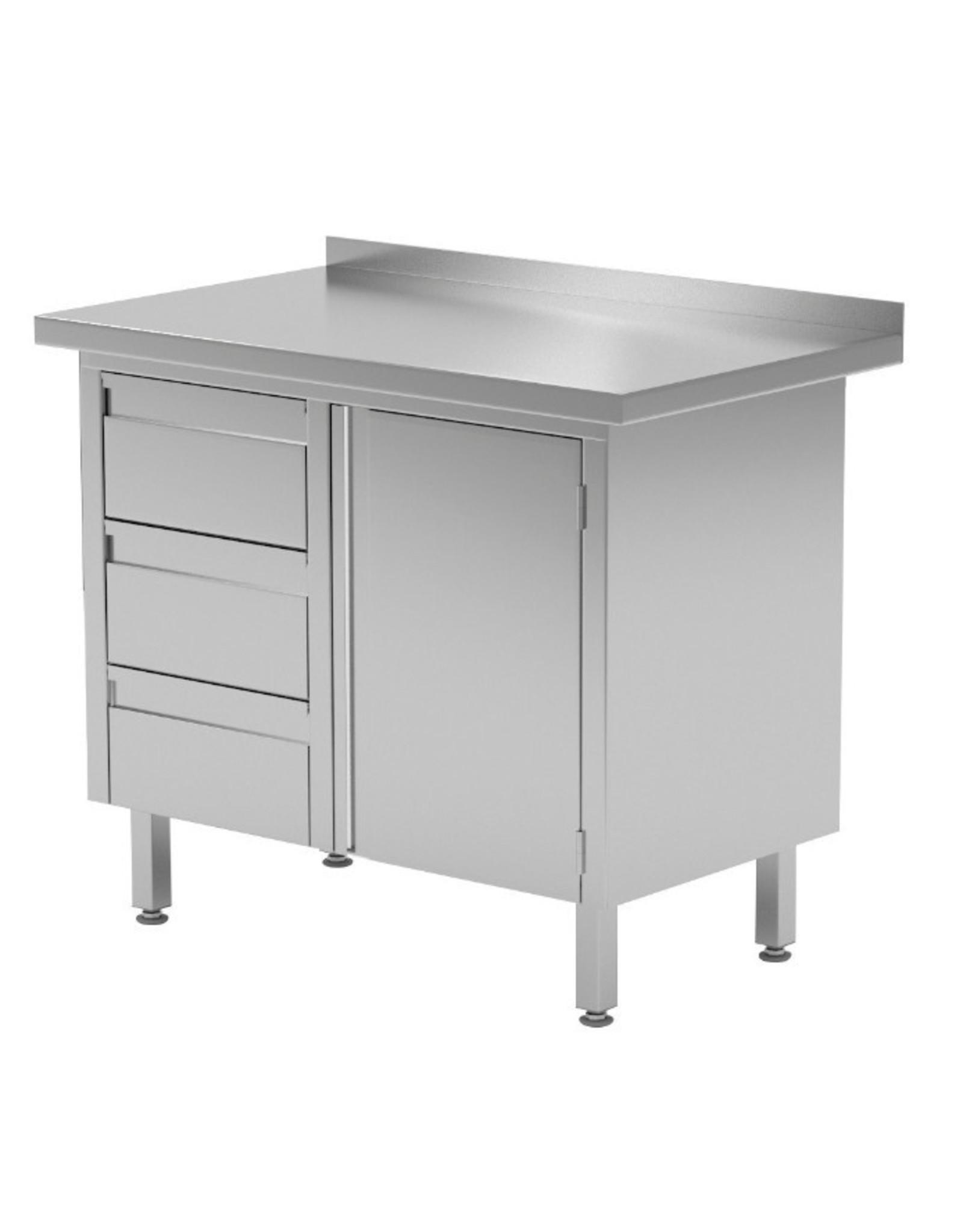 Werktafel met 3 lades links en klapdeur | 830-1000mm breed | 600 of 700mm diep