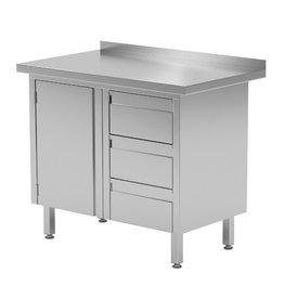 Werktafel met 3 lades rechts en klapdeur | 830-1000mm breed | 600 of 700mm diep