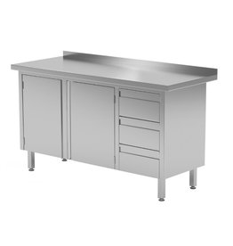 Werktafel met 3 lades rechts en 2 klapdeuren   1100-1900mm breed   600 of 700mm diep