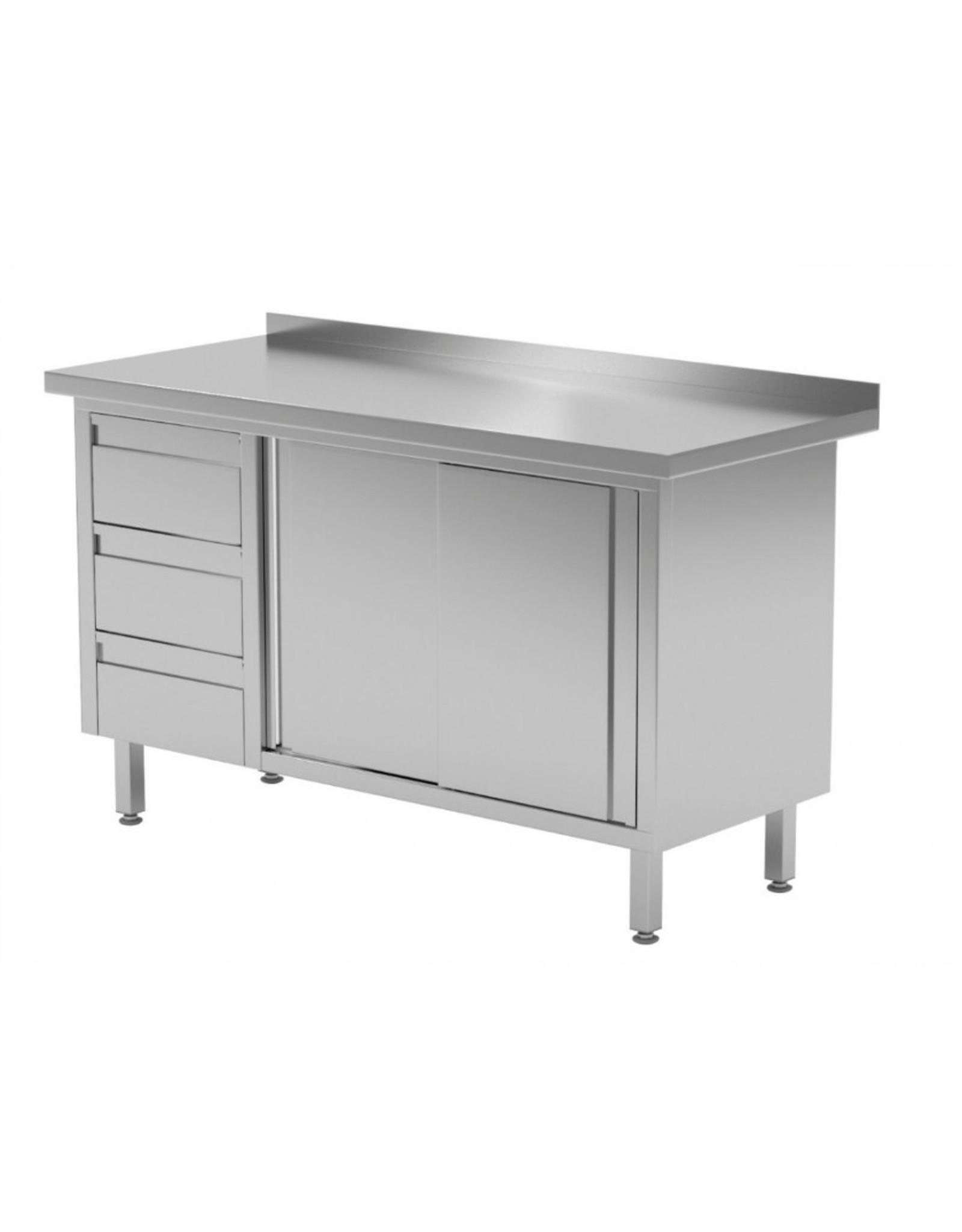 Werktafel met 3 lades links en 2 schuifdeuren | 1200-1900mm breed | 600 of 700mm diep