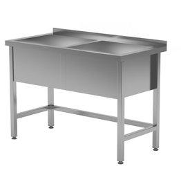 Grote wasbak tafel met 2 bakken | 300mm diepte wasbak | 1200-1600mm breed | 600 of 700mm diep