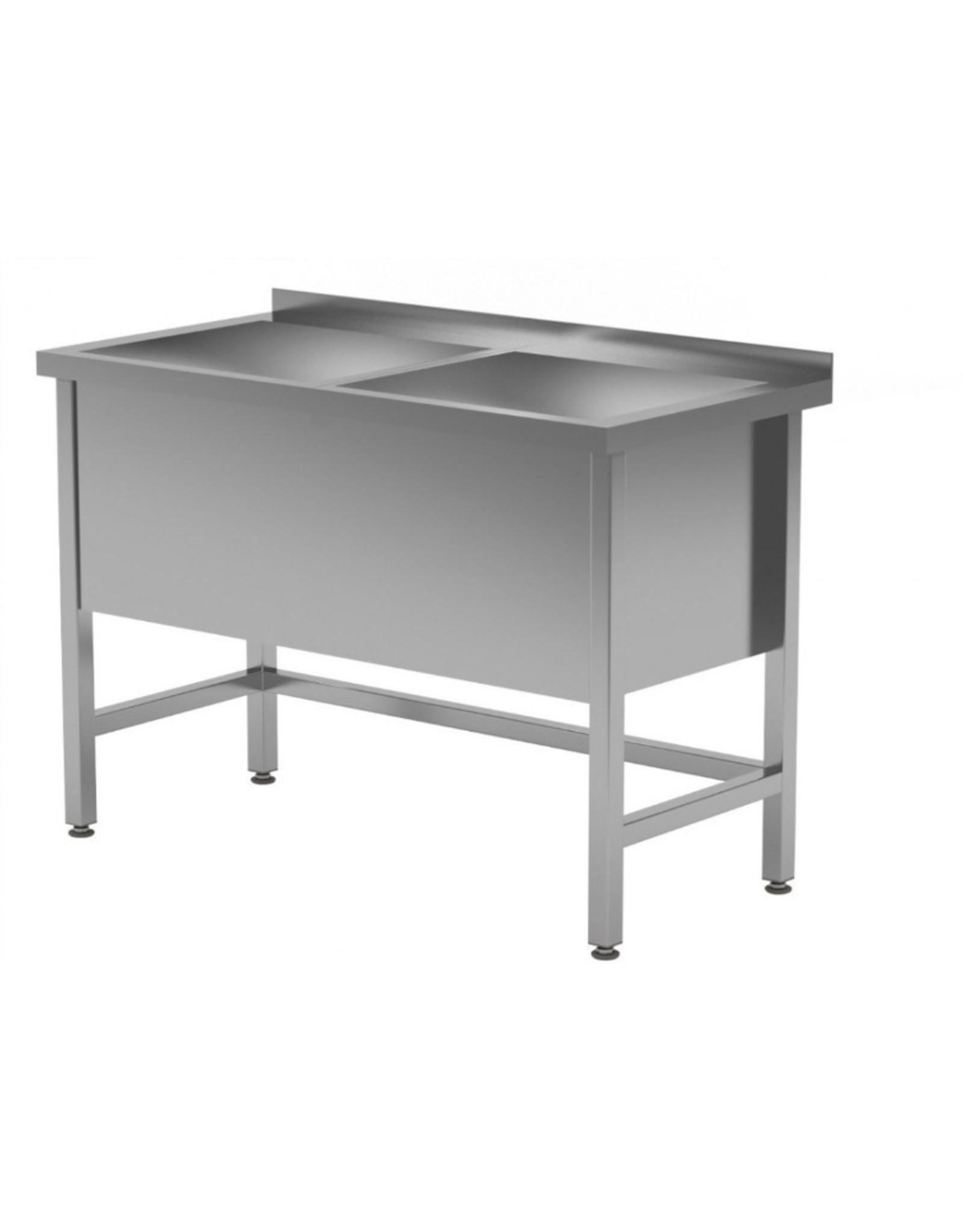 Grote wasbak tafel met 2 bakken | 400mm diepte wasbak | 1200-1600mm breed | 600 of 700mm diep