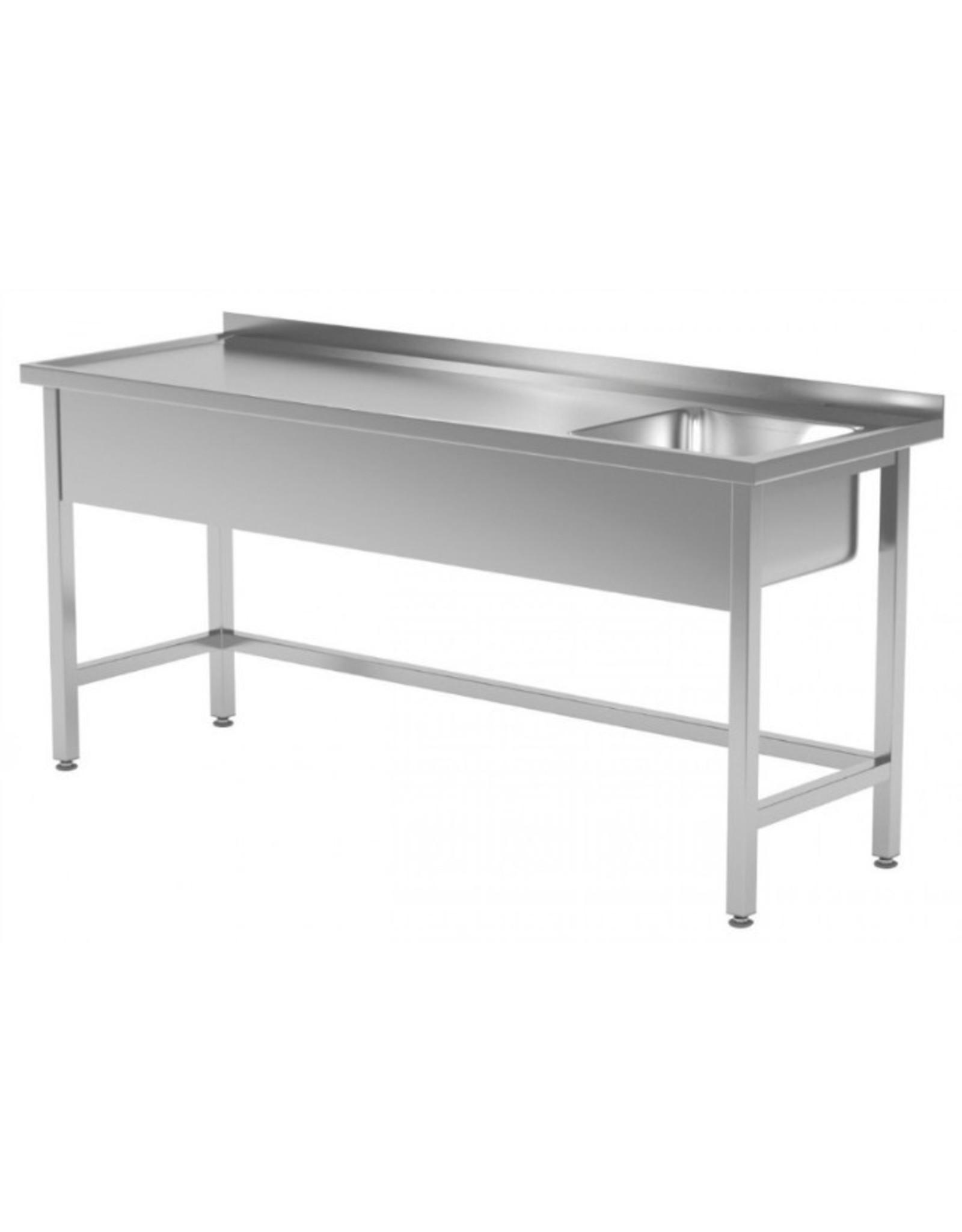 Spoeltafel met open onderkant verstevigd | spoelbak rechts | 1200-1900mm breed | 600 of 700mm diep