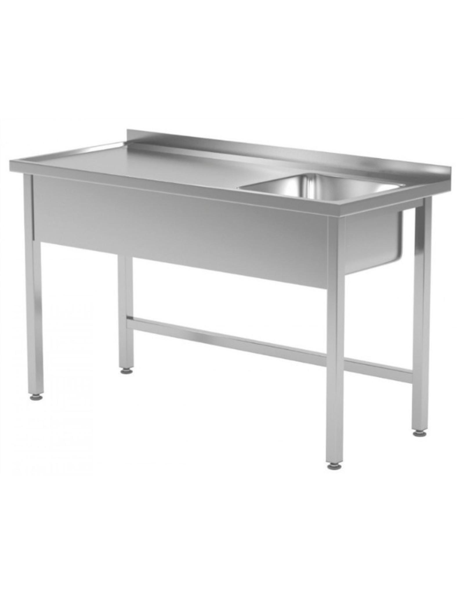 Spoeltafel | open onderkant | spoelbak rechts | 800-1900mm breed | 600 of 700mm diep