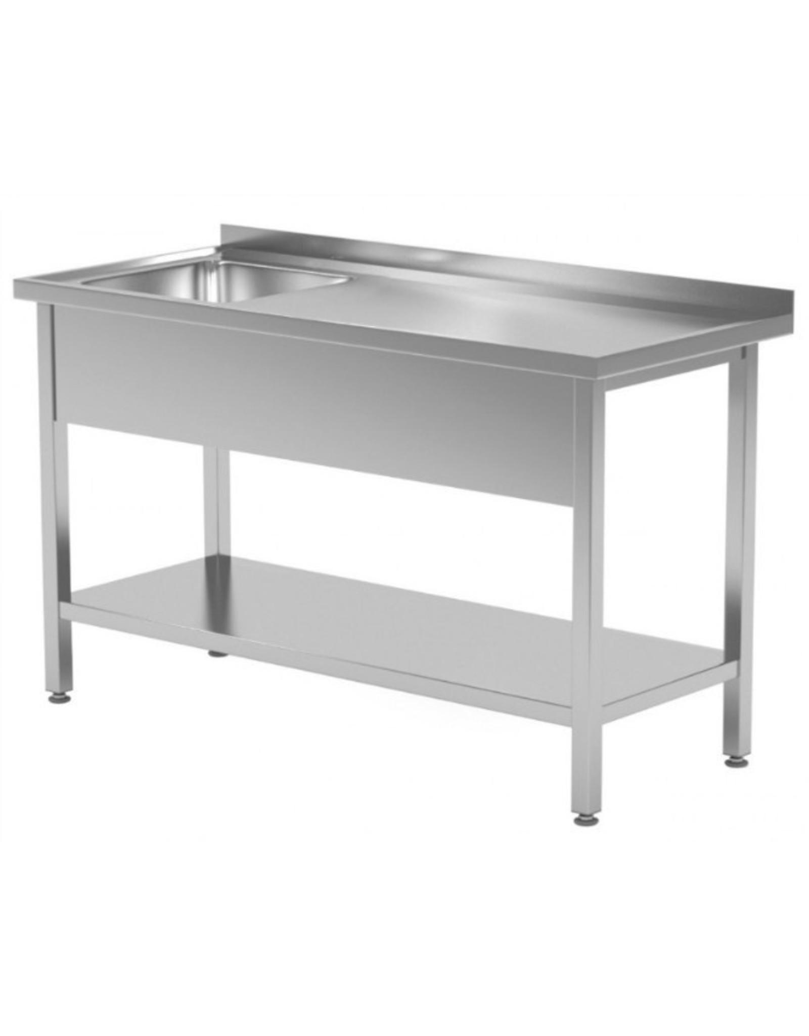 Spoeltafel | met onderplank | spoelbak links | 800-1900mm breed | 600 of 700mm diep