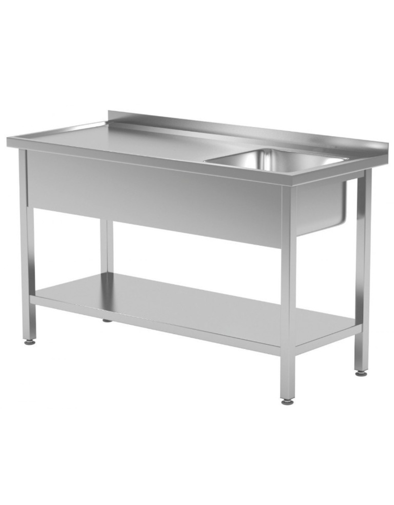 Spoeltafel | met onderplank | spoelbak rechts | 800-1900mm breed | 600 of 700mm diep