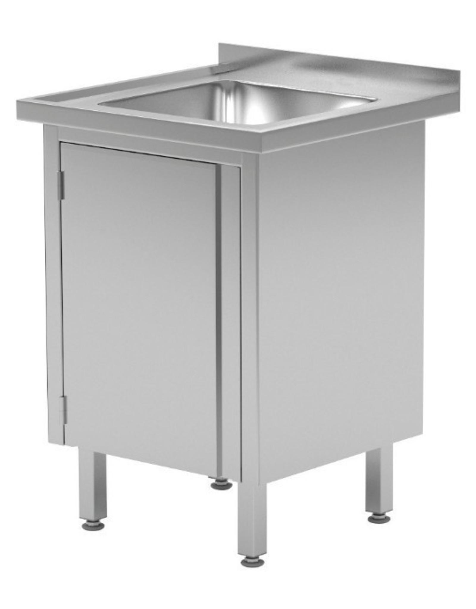 Spoeltafel met kast met klapdeur | 500-600mm breed | 600 of 700mm diep