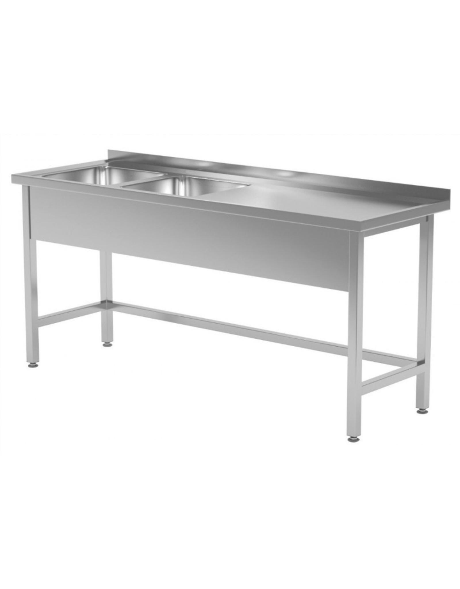 Spoeltafel met open onderkant verstevigd | 2 spoelbakken links | 1400-1900mm breed | 600 of 700mm diep