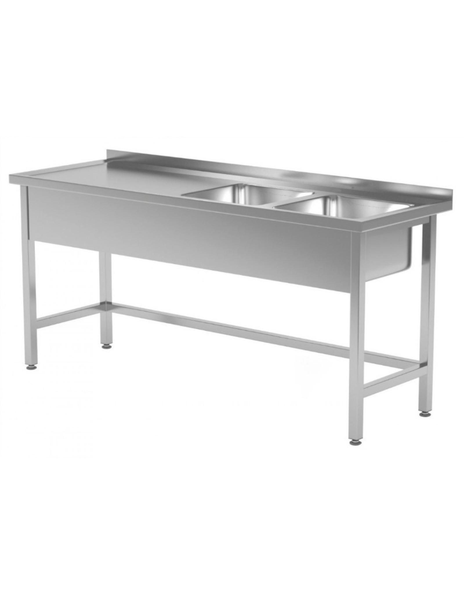 Spoeltafel met open onderkant verstevigd | 2 spoelbakken rechts | 1400-1900mm breed | 600 of 700mm diep