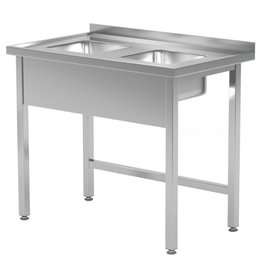 Spoeltafel met 2 kleine spoelbakken | open onderkant | 800-900mm breed | 600 of 700mm diep