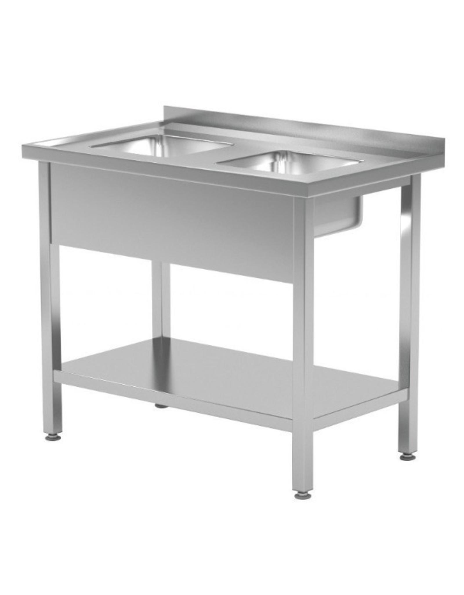 Spoeltafel met 2 kleine spoelbakken | met onderplank | 800-900mm breed | 600 of 700mm diep