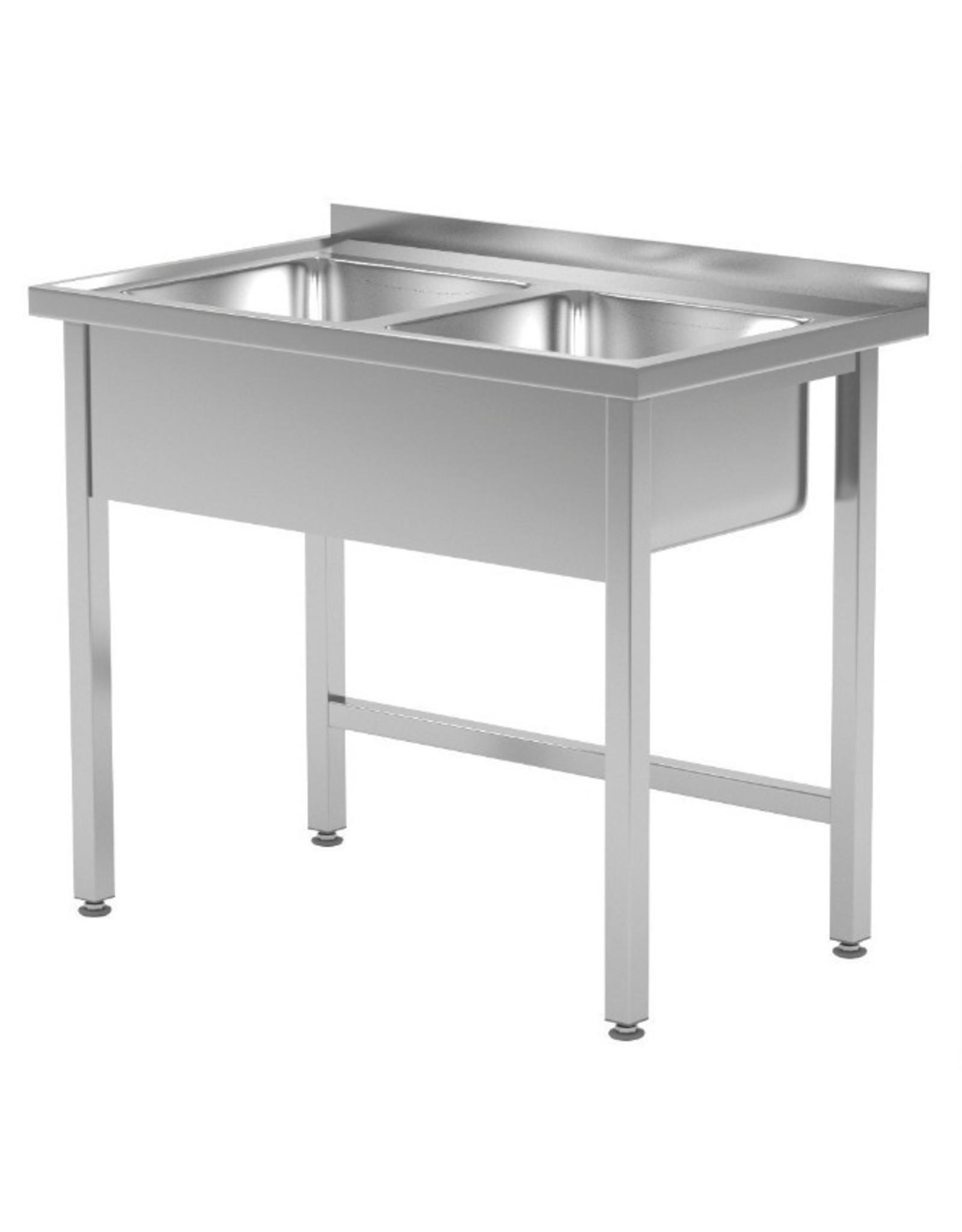Spoeltafel met 2 grote spoelbakken | open onderkant | 1000mm breed | 600 of 700mm diep