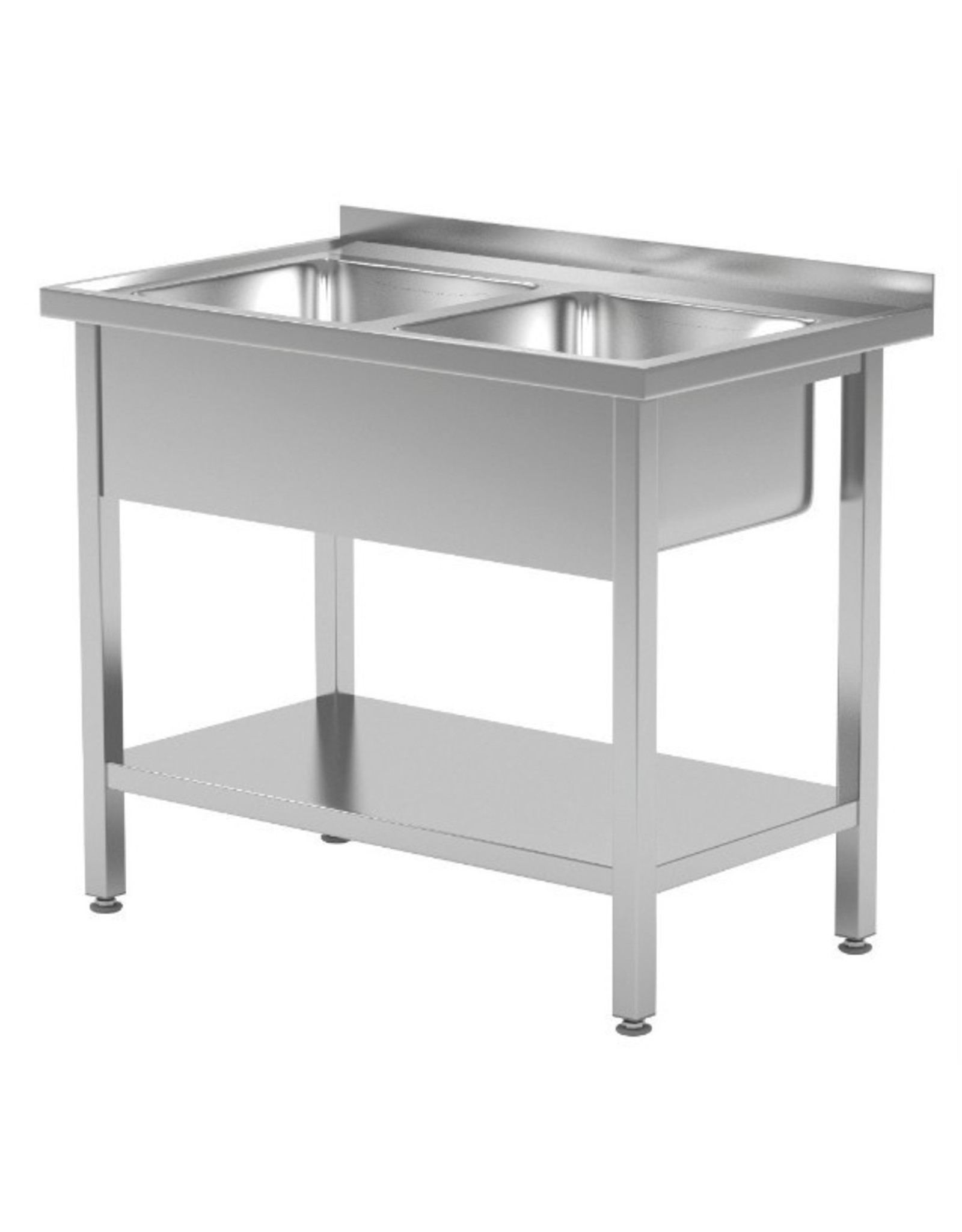 Spoeltafel met 2 grote spoelbakken | met onderplank | 1000mm breed | 600 of 700mm diep