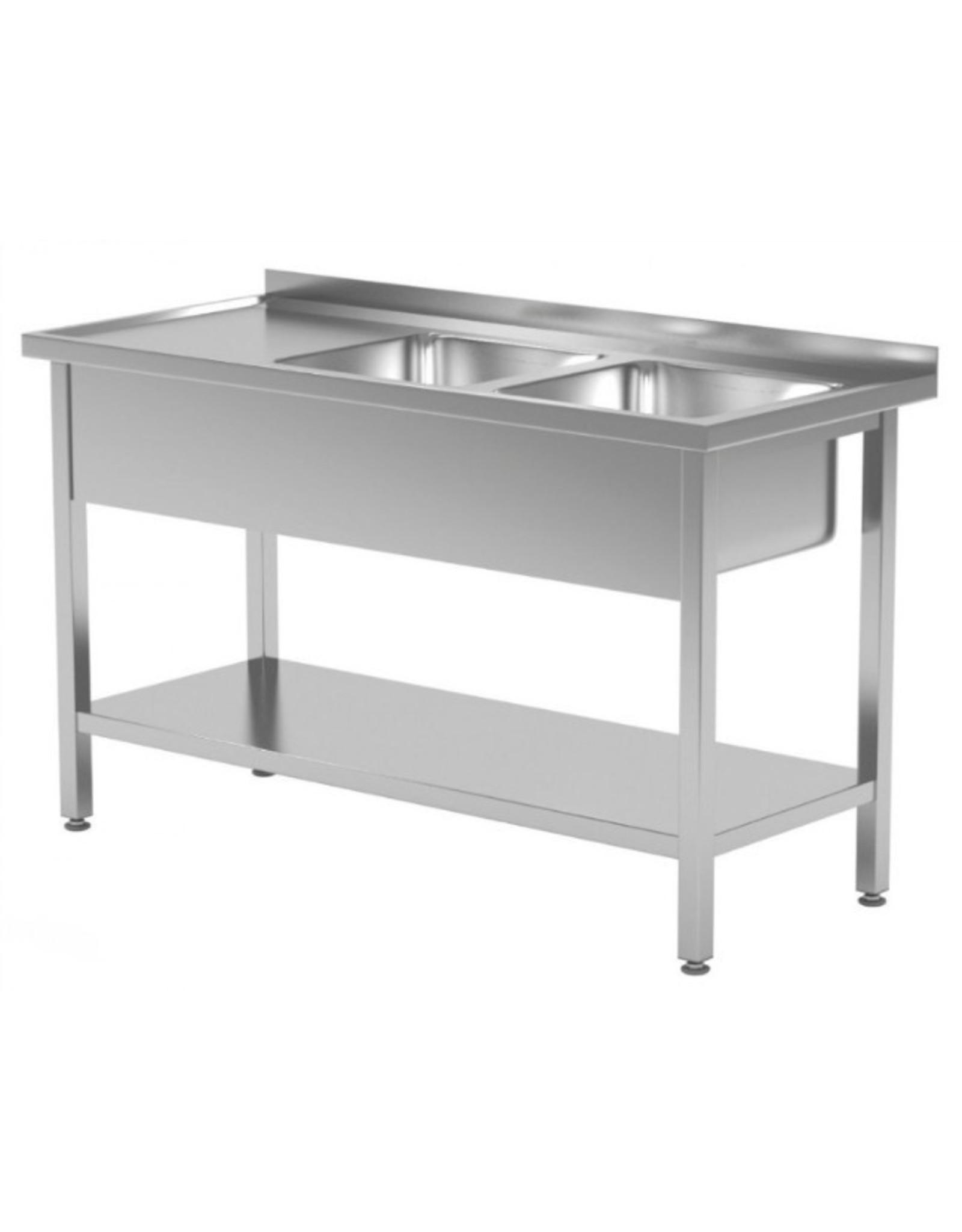 Spoeltafel | met onderplank | 2 spoelbakken rechts | 1100-1900mm breed | 600 of 700mm diep
