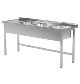 Spoeltafel | open onderkant | 3 spoelbakken rechts | 1500-1900mm breed | 600 of 700mm diep