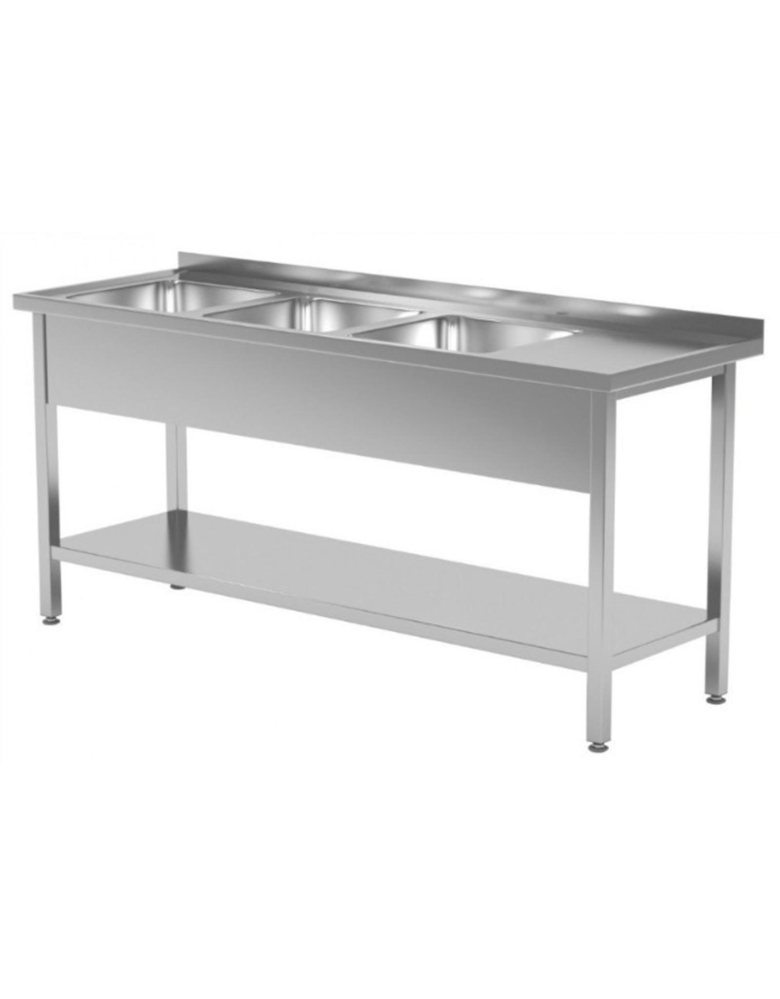 Spoeltafel | met onderplank | 3 spoelbakken links | 1500-1900mm breed | 600 of 700mm diep