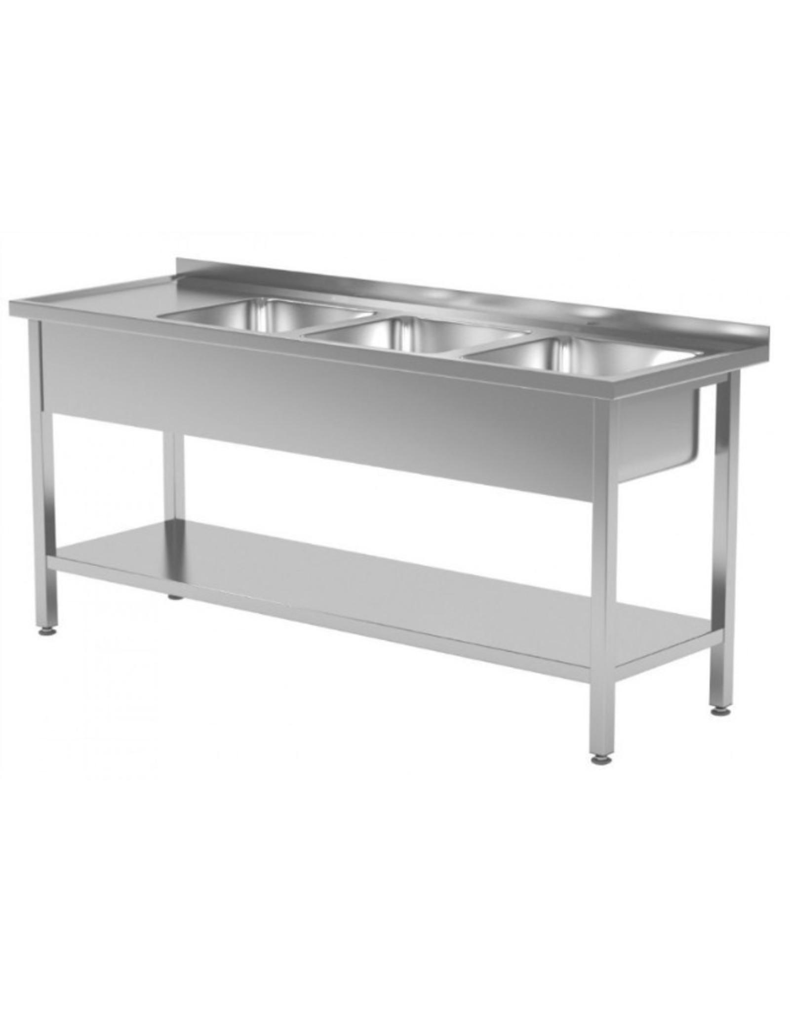 Spoeltafel | met onderplank | 3 spoelbakken rechts | 1500-1900mm breed | 600 of 700mm diep