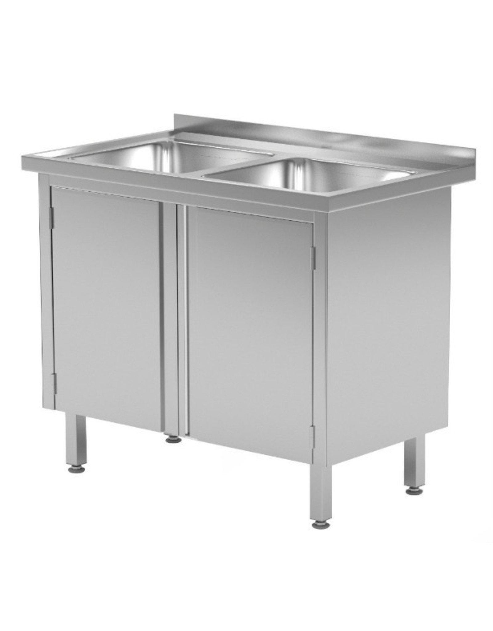 Spoeltafel met kast met klapdeuren | 2 spoelbakken | 1000mm breed | 600 of 700mm diep