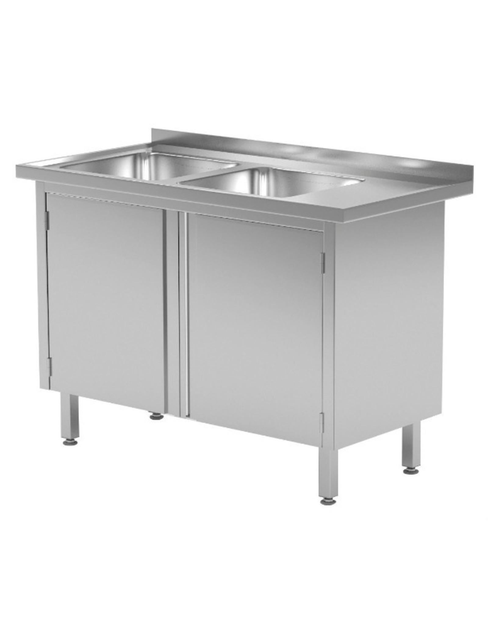 Spoeltafel met kast met klapdeuren | 2 spoelbakken links | 1100-1500mm breed | 600 of 700mm diep