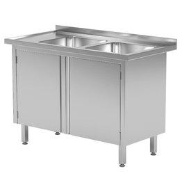 Spoeltafel met kast met klapdeuren | 2 spoelbakken rechts | 1100-1500mm breed | 600 of 700mm diep