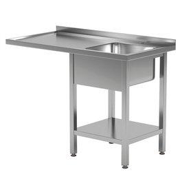 Spoeltafel met blad en onderruimte | spoelbak rechts | 1200-1900mm breed | 600 of 700mm diep