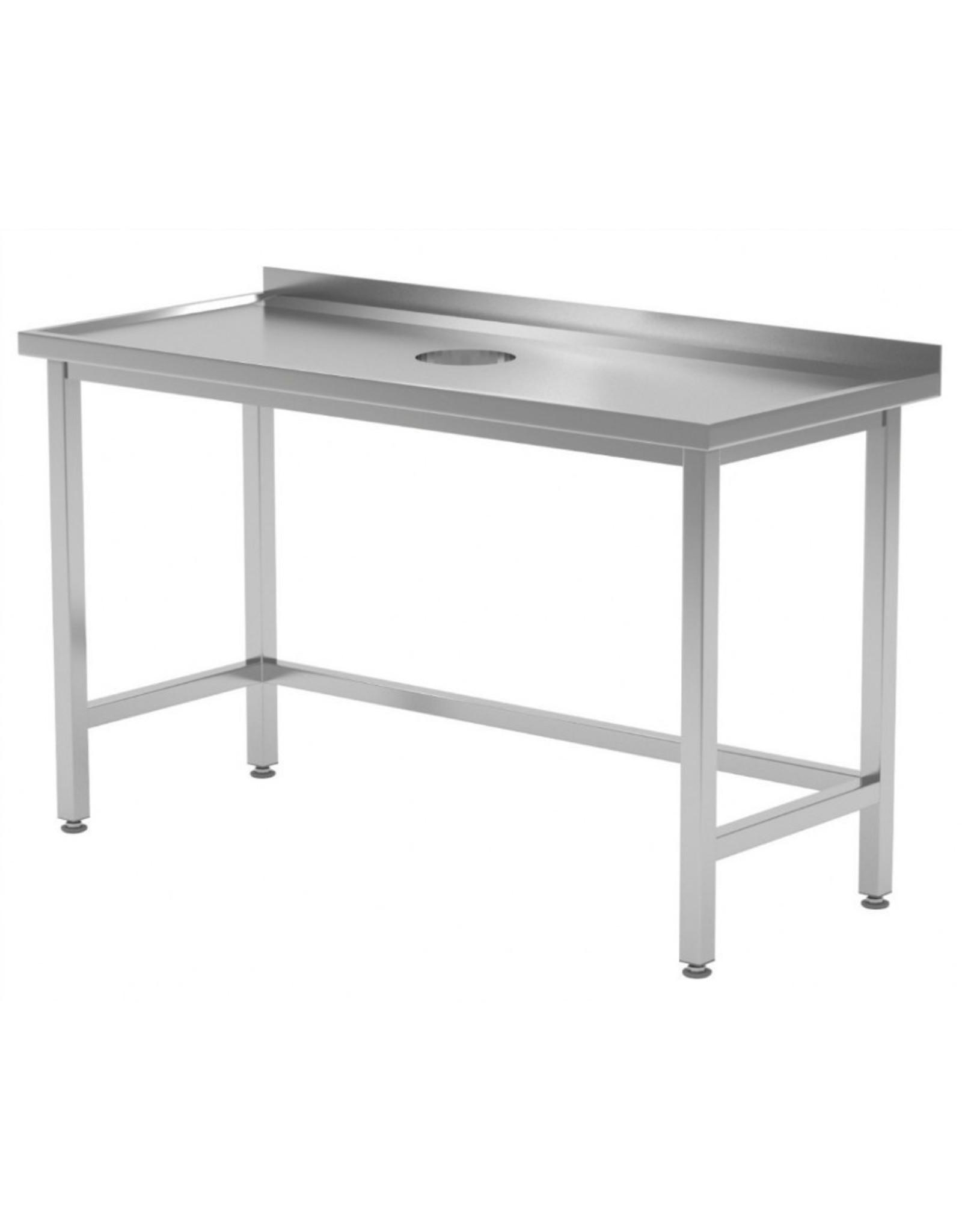 Werktafel met afvalgat | 800-1900mm breed | 600 of 700mm diep