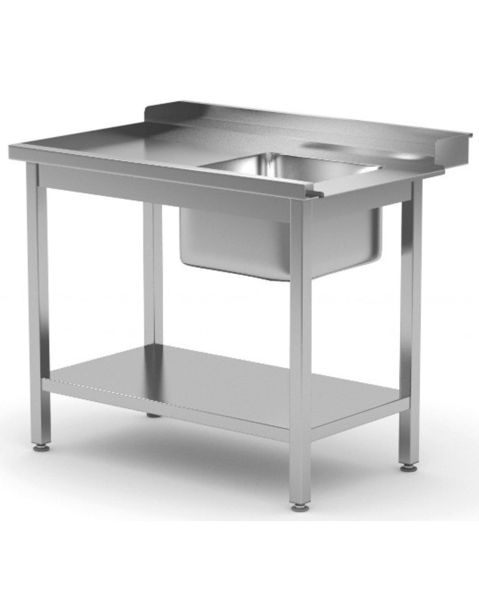 Aanvoertafel doorschuifvaatwasser | met onderplank | links van vaatwasser | 800-1400mm breed | 700 of 760mm diep