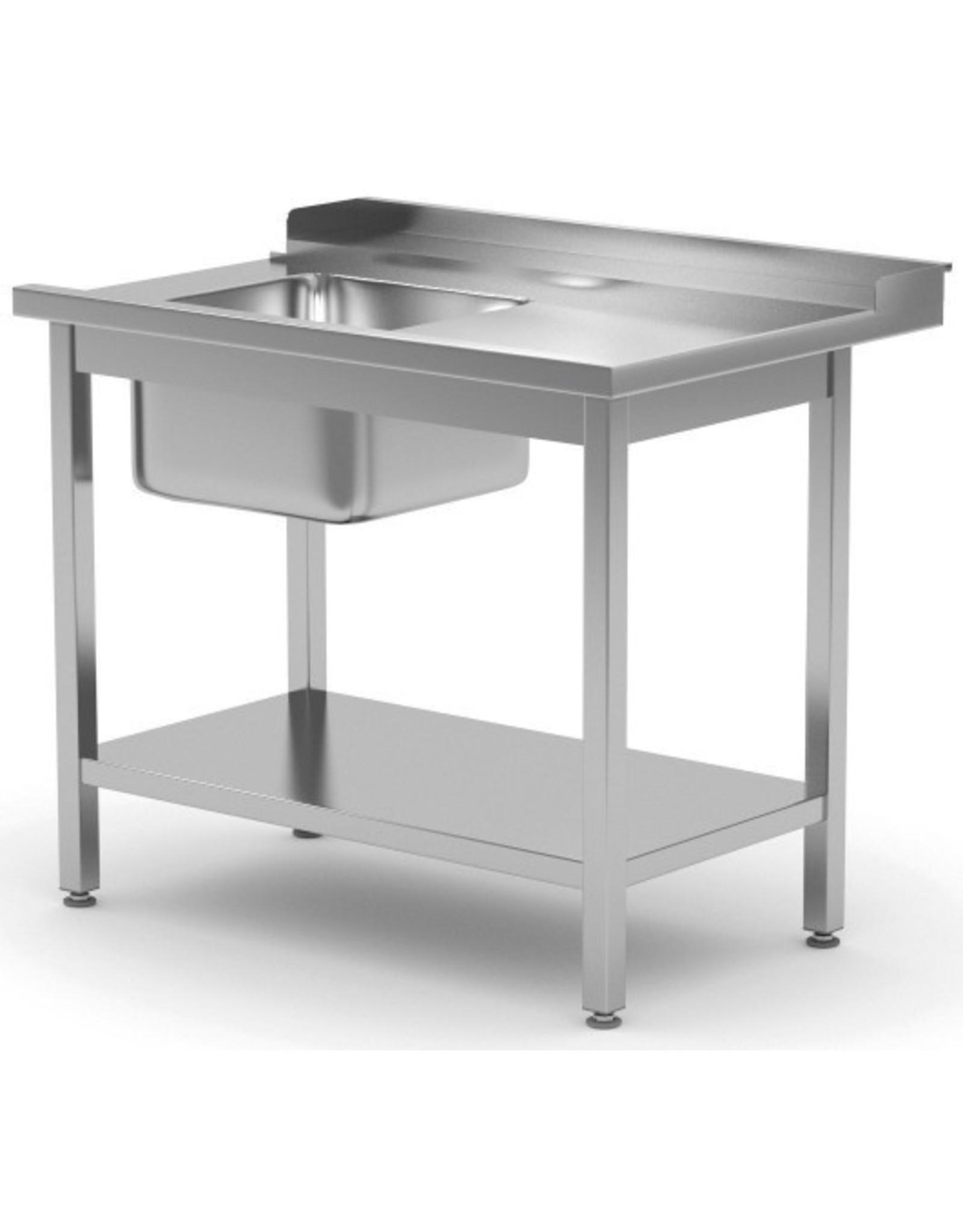 Aanvoertafel doorschuifvaatwasser | met onderplank | rechts van vaatwasser | 800-1400mm breed | 700 of 760mm diep