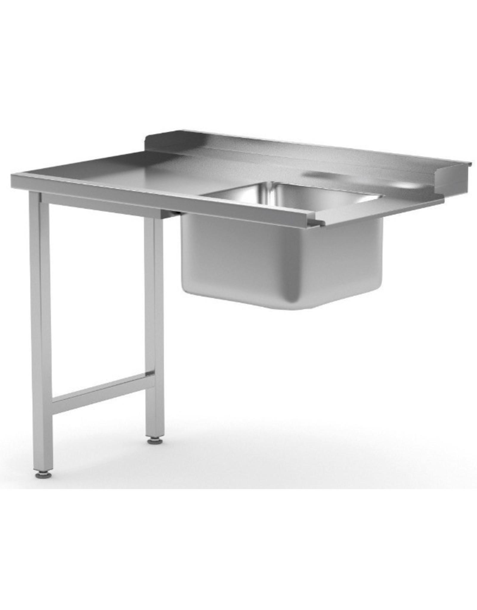 Aanvoertafel doorschuifvaatwasser | inhaak model | links van vaatwasser | 800-1400mm breed | 700 of 760mm diep