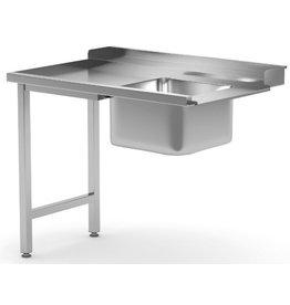 Aanvoertafel doorschuifvaatwasser | inhaak model | links van vaatwasser | 600-1400mm breed | 700 of 760mm diep