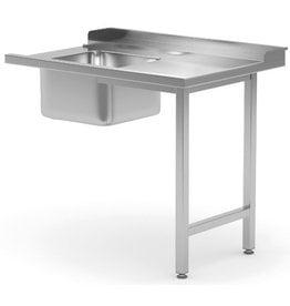 Aanvoertafel doorschuifvaatwasser | inhaak model | rechts van vaatwasser | 600-1400mm breed | 700 of 760mm diep