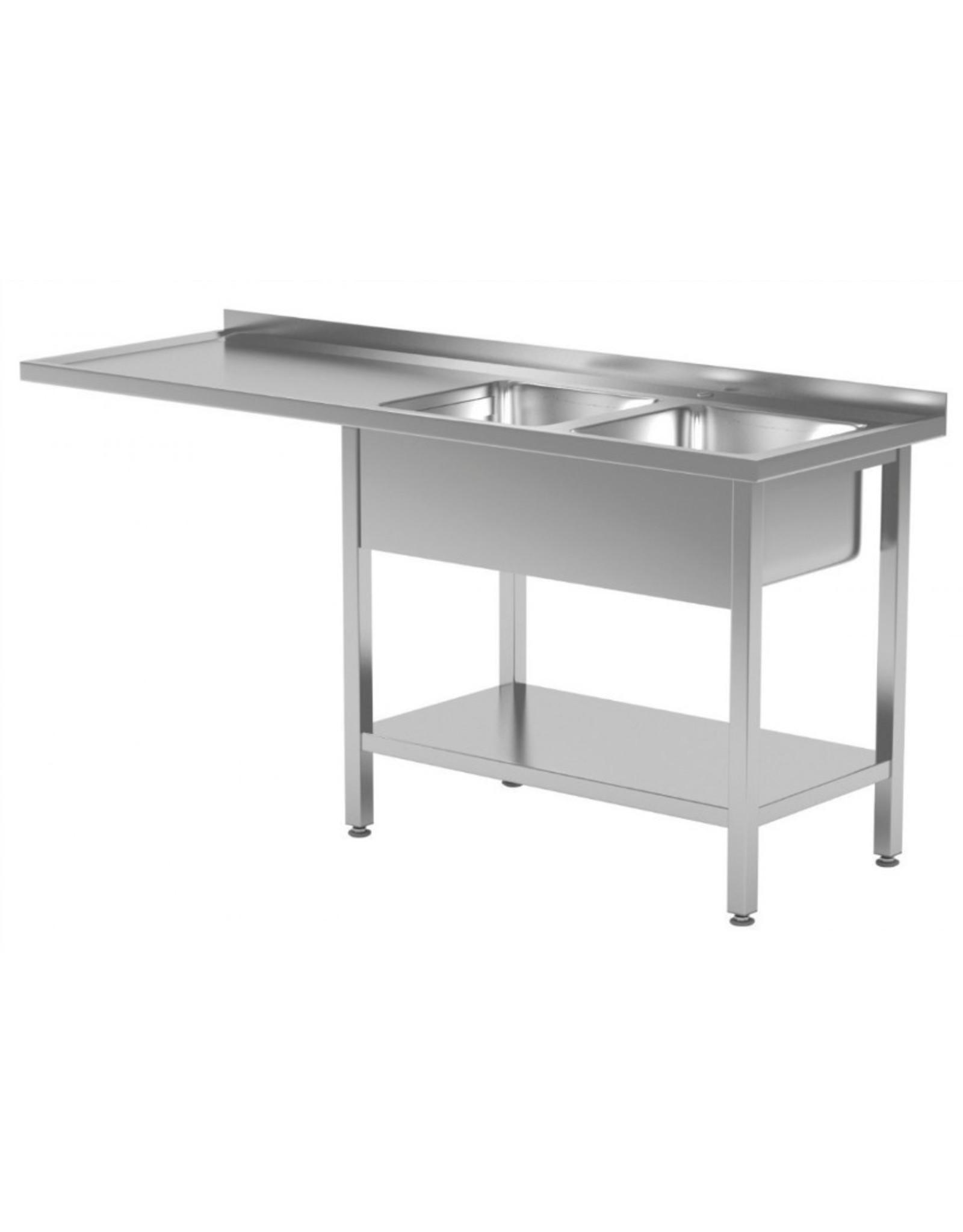 Spoeltafel met blad en onderruimte | 2 spoelbakken rechts | 1600-2400mm breed | 600 of 700mm diep