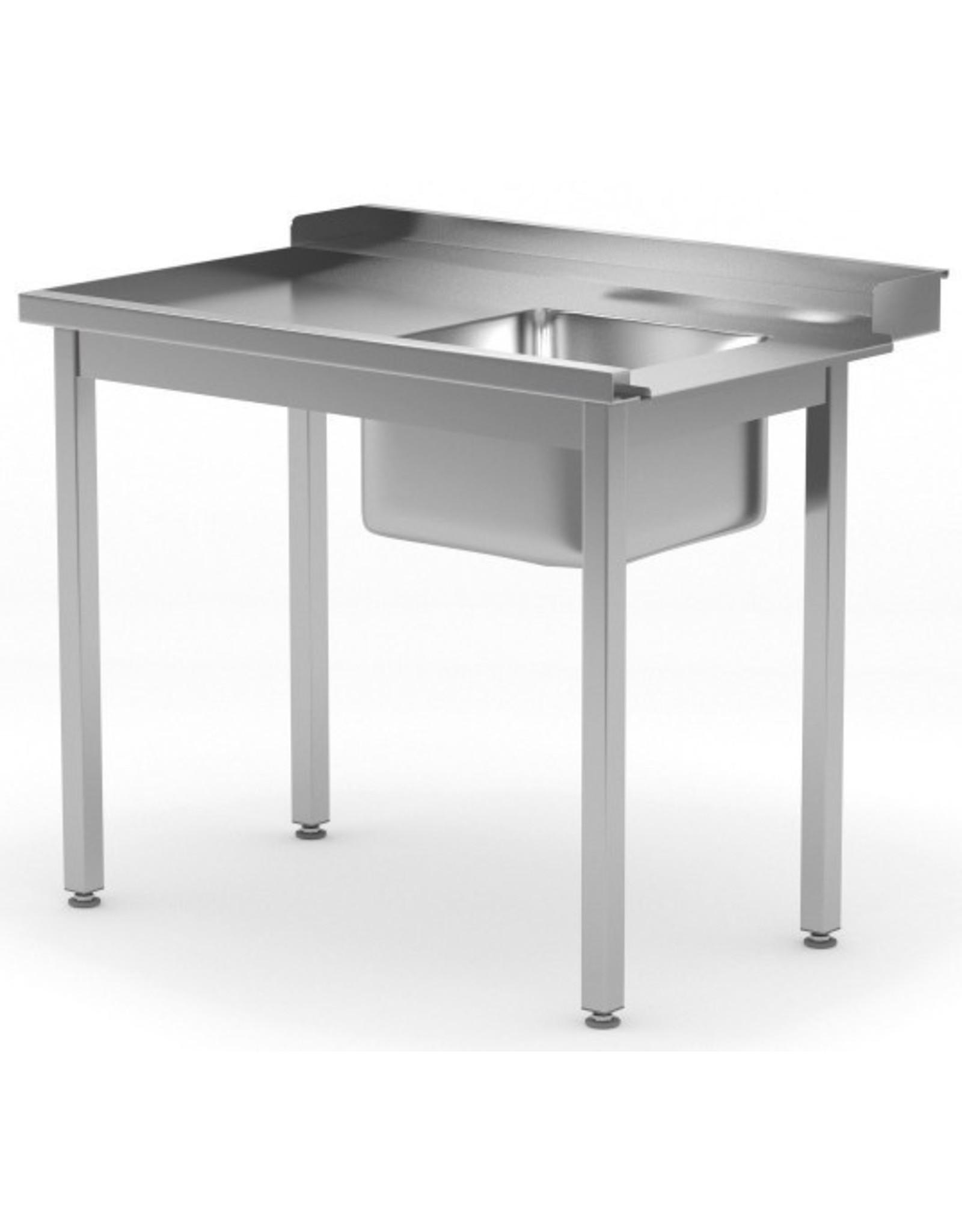 Aanvoertafel doorschuifvaatwasser | open onderkant | links van vaatwasser | 800-1400mm breed | 700 of 760mm diep