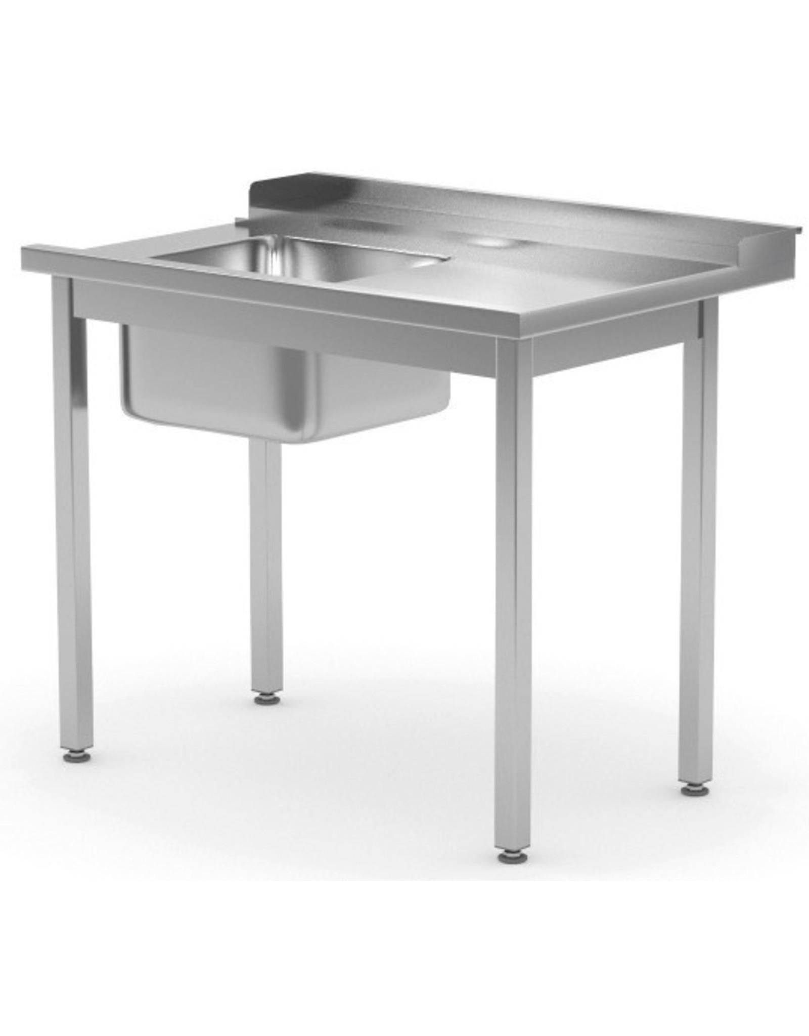 Aanvoertafel doorschuifvaatwasser | open onderkant | rechts van vaatwasser | 800-1400mm breed | 700 of 760mm diep
