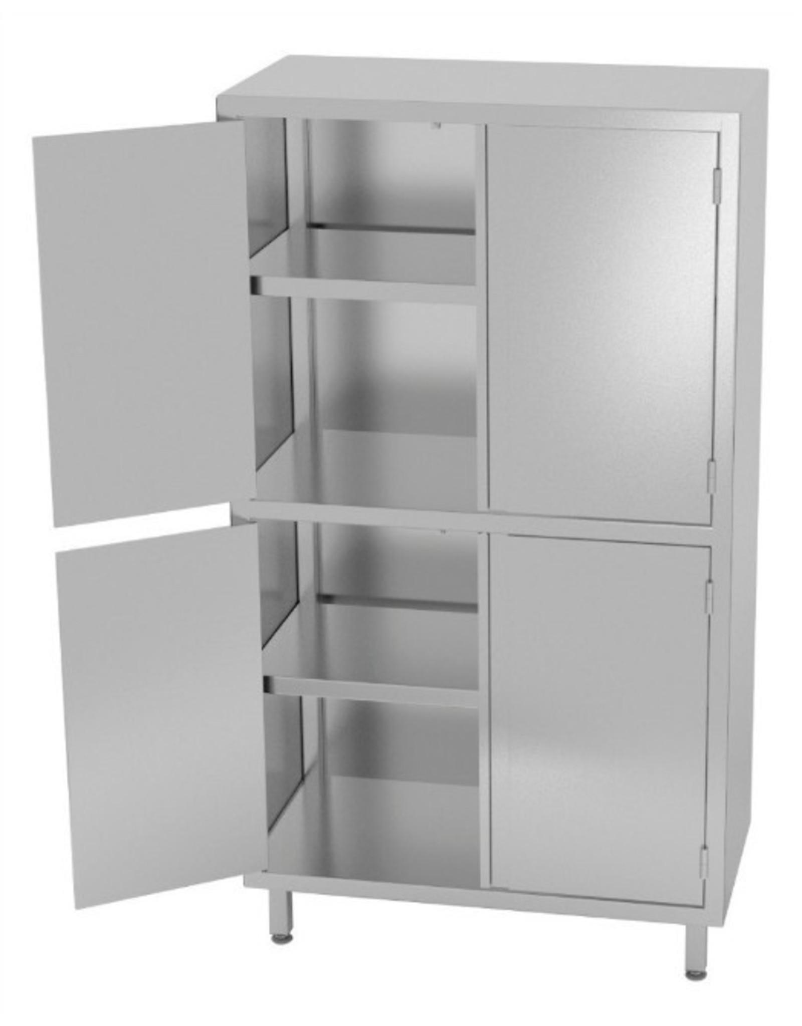 Kast met boven en onder dubbele klapdeuren | 800-1200mm breed | 500-700mm diep | 2000mm hoog