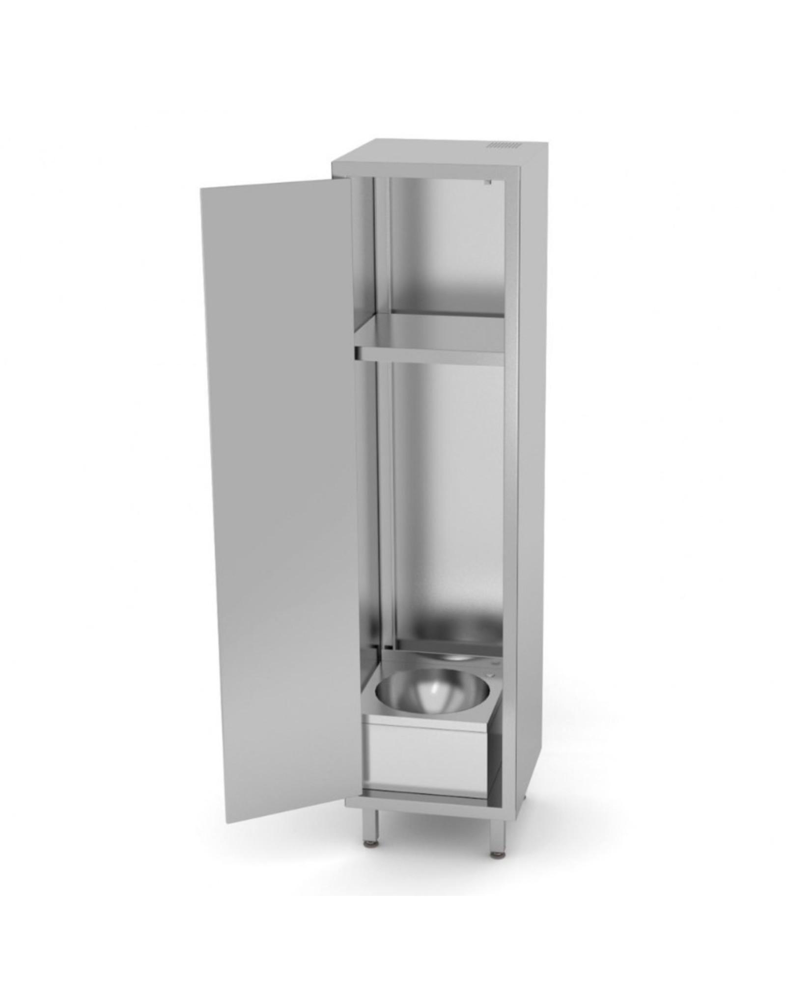 Kast met wasbak en klapdeur | 500mm breed | 500mm diep | 1800mm hoog