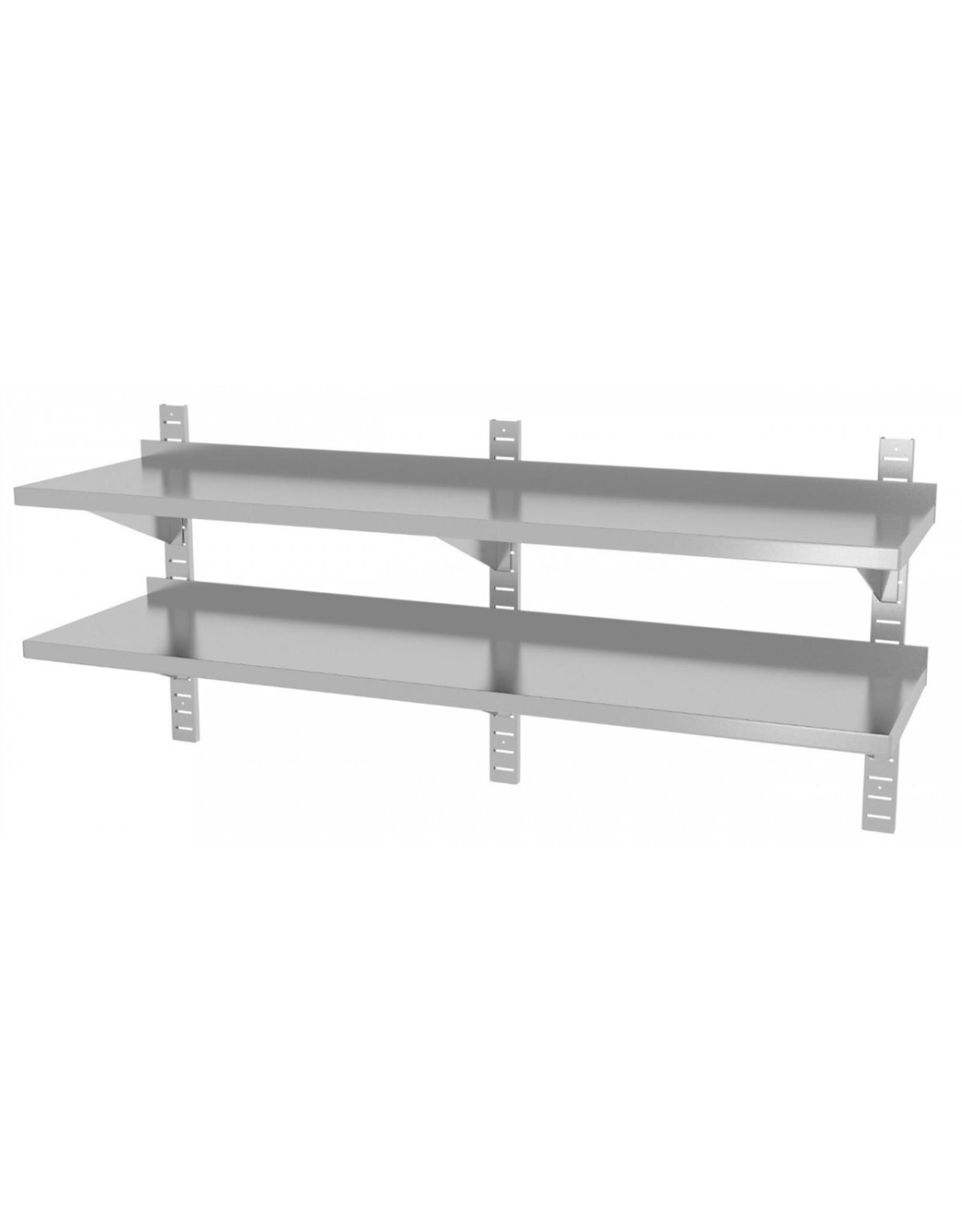 Wandplank | 2 planken | met 3 beugels | 1600-2000mm breed | 300 of 400mm diep