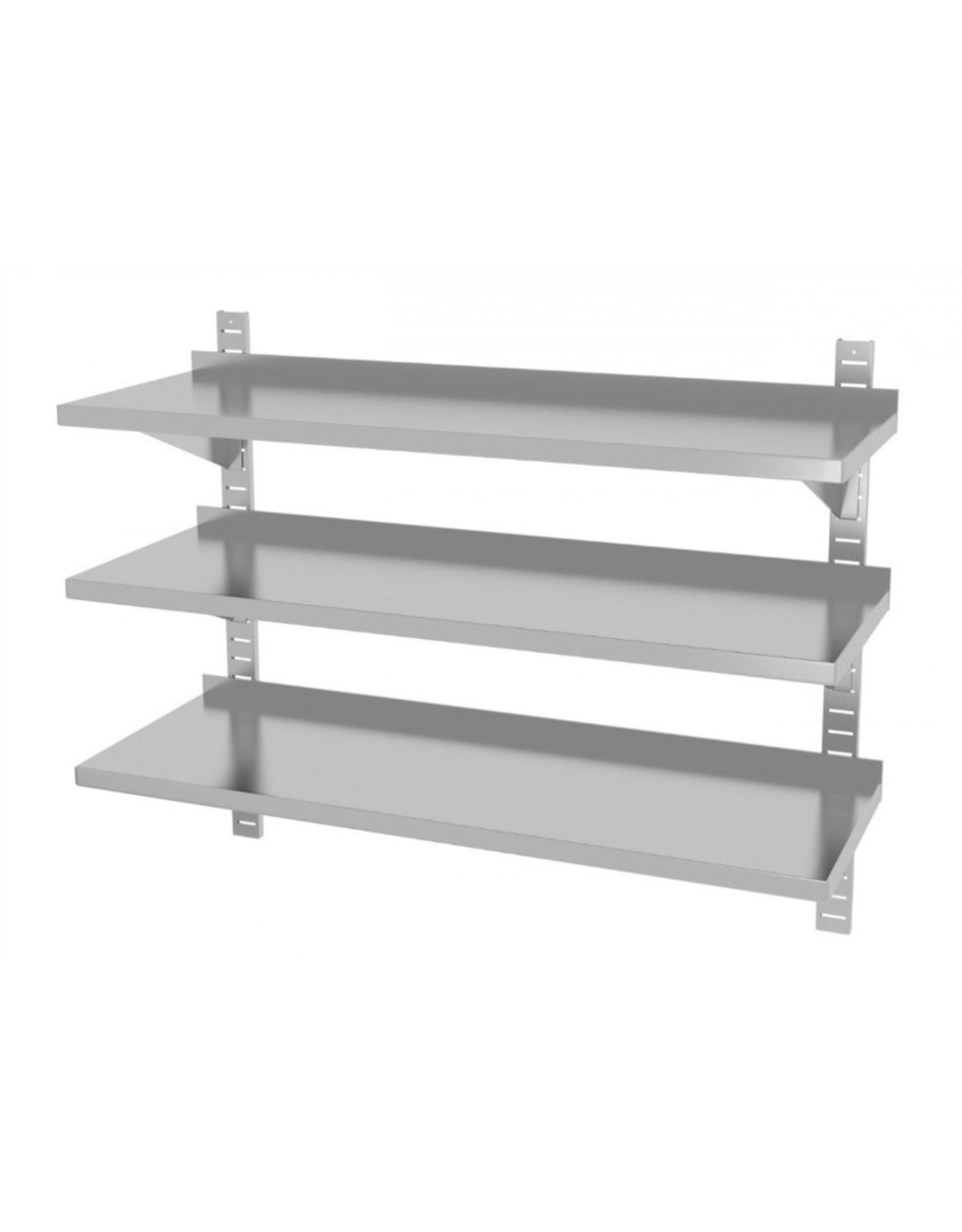 Wandplank | 3 planken | met 2 beugels | 600-1500mm breed | 300 of 400mm diep