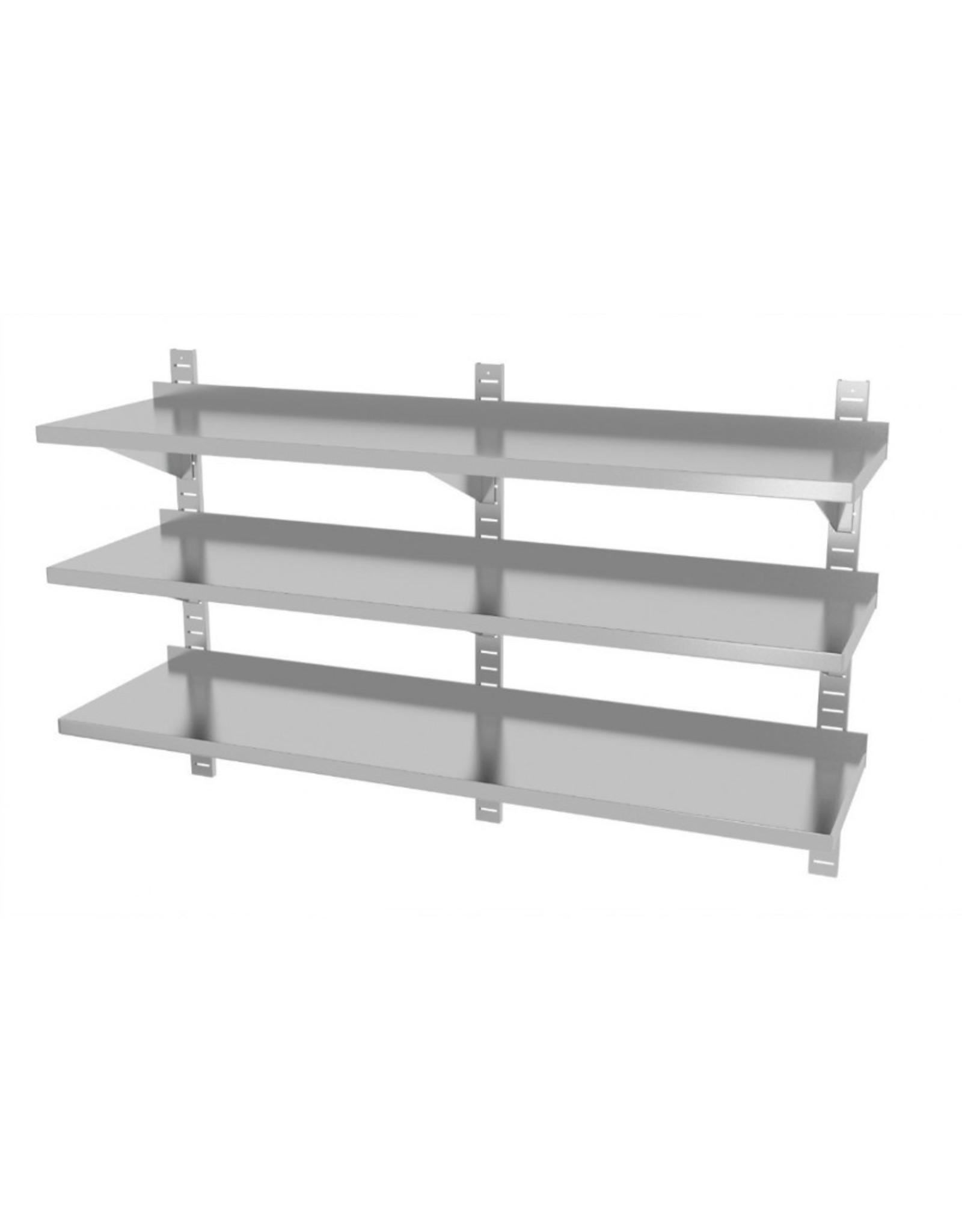 Wandplank | 3 planken | met 3 beugels | 1600-2000mm breed | 300 of 400mm diep
