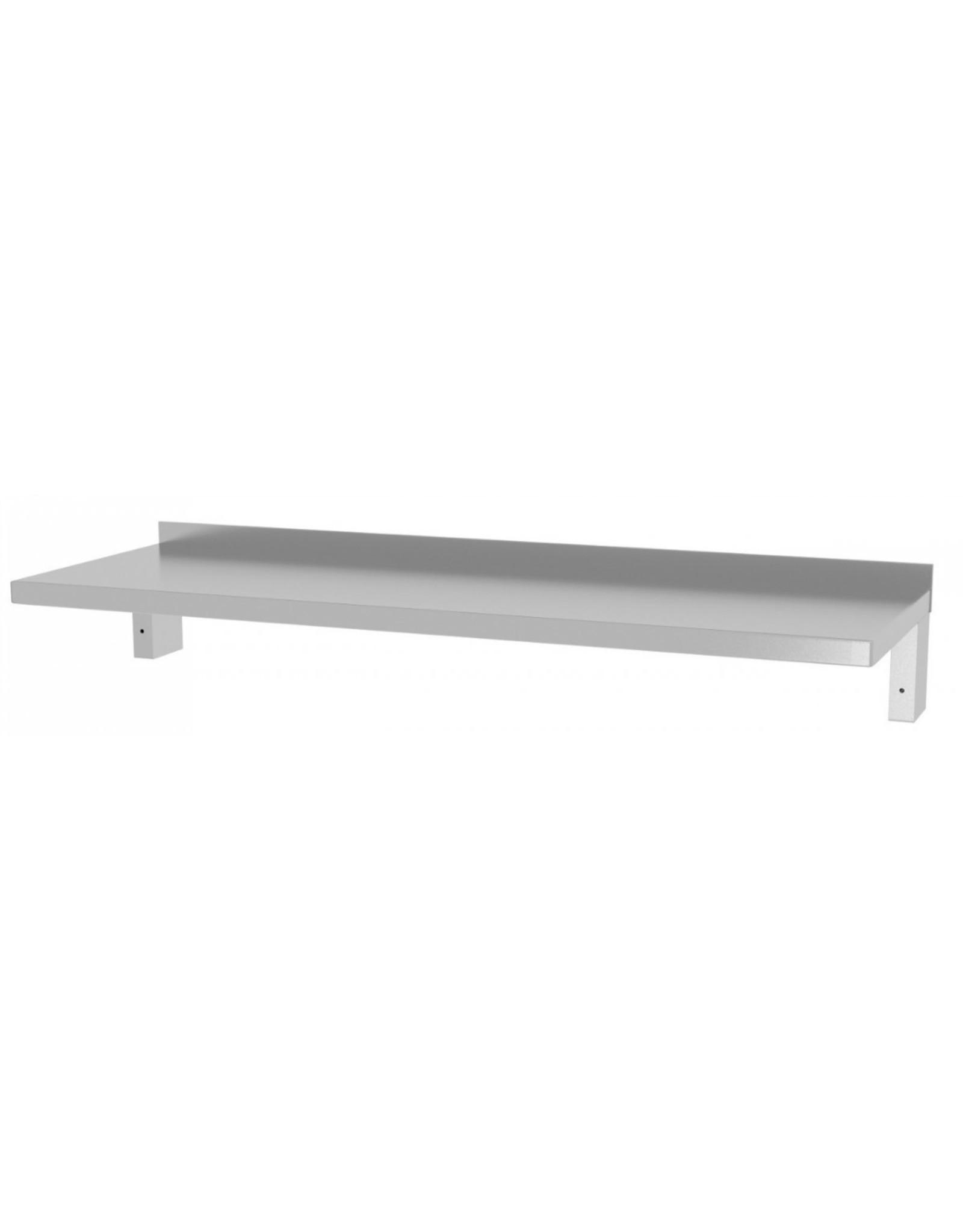 Wandplank verstevigd vast model | met 2 beugels | 600-1500mm breed | 300 of 400mm diep