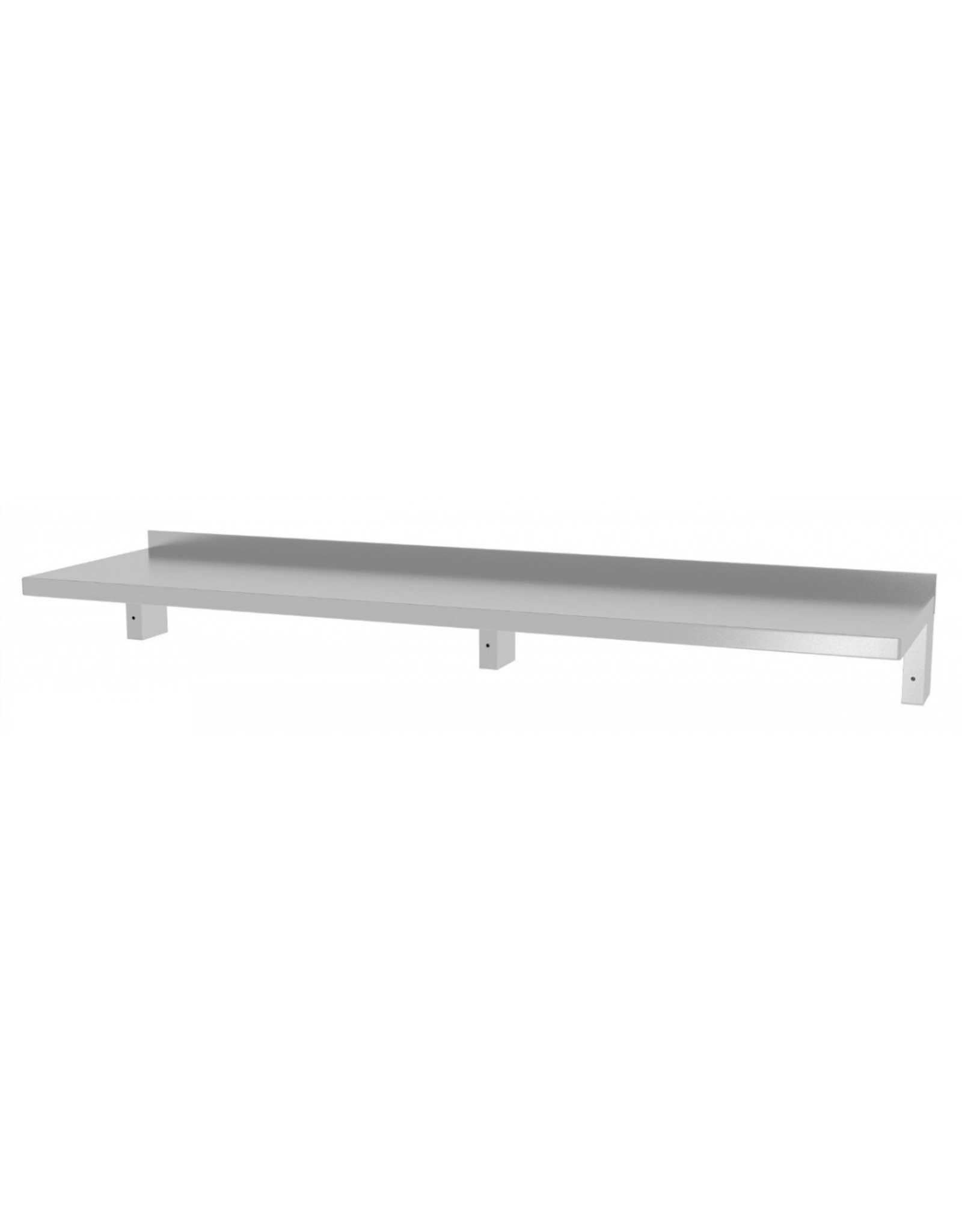 Wandplank verstevigd vast model | met 2 beugels | 1600-2000mm breed | 300 of 400mm diep
