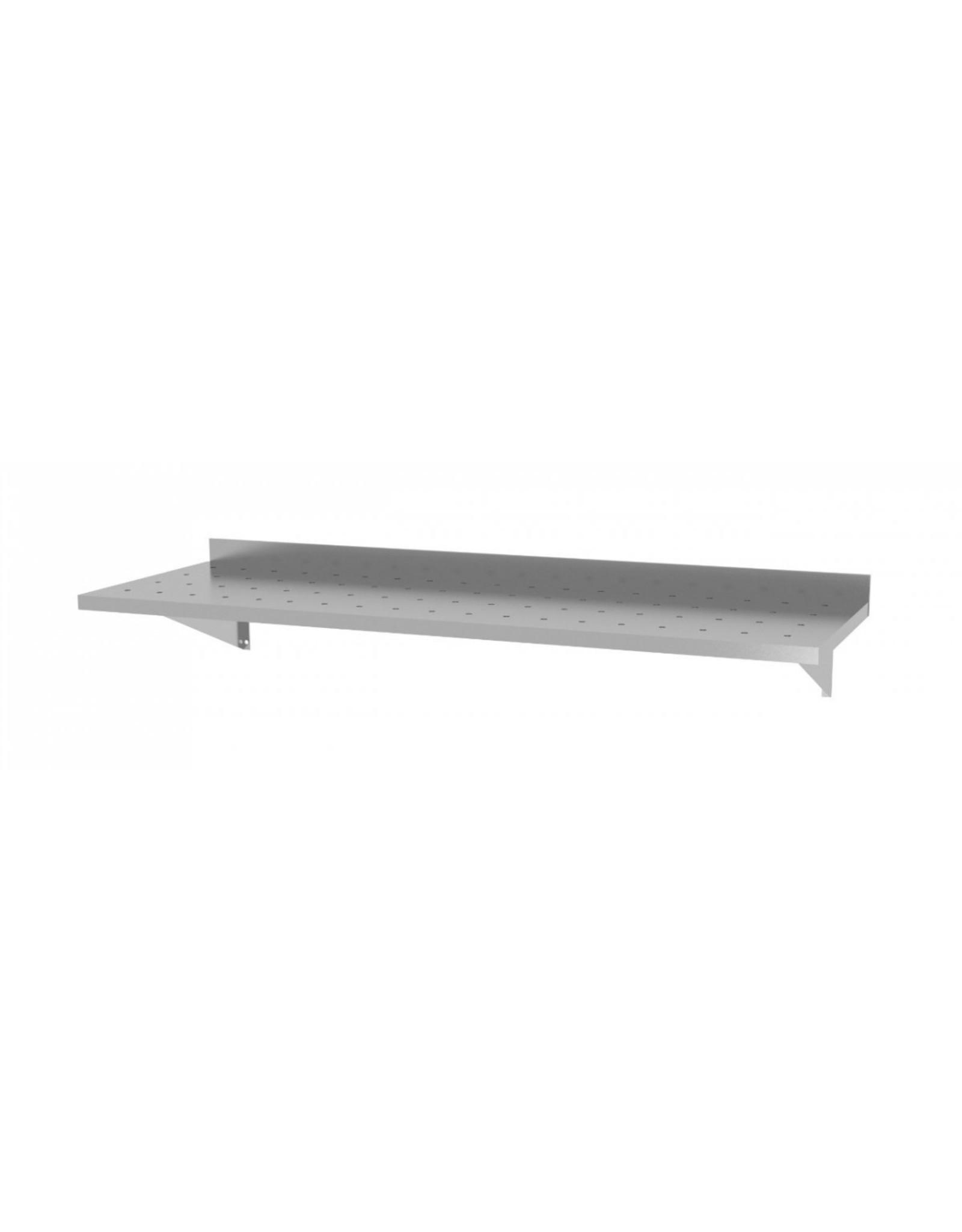 Wandplank geperforeerd vast model | met 2 beugels | 600-1500mm breed | 300 of 400mm diep