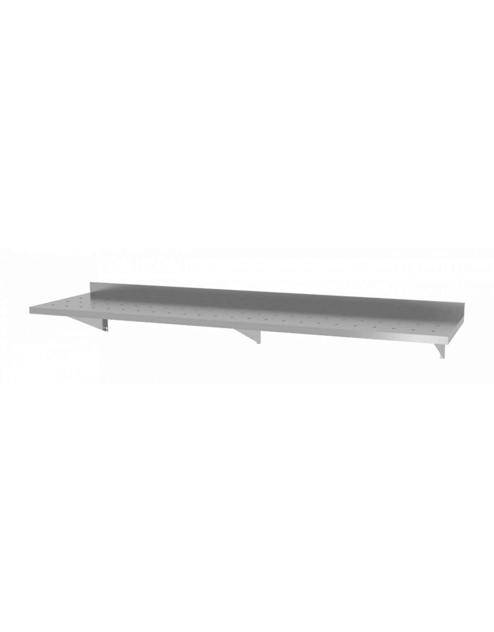 Wandplank geperforeerd vast model | met 3 beugels | 1600-2000mm breed | 300 of 400mm diep
