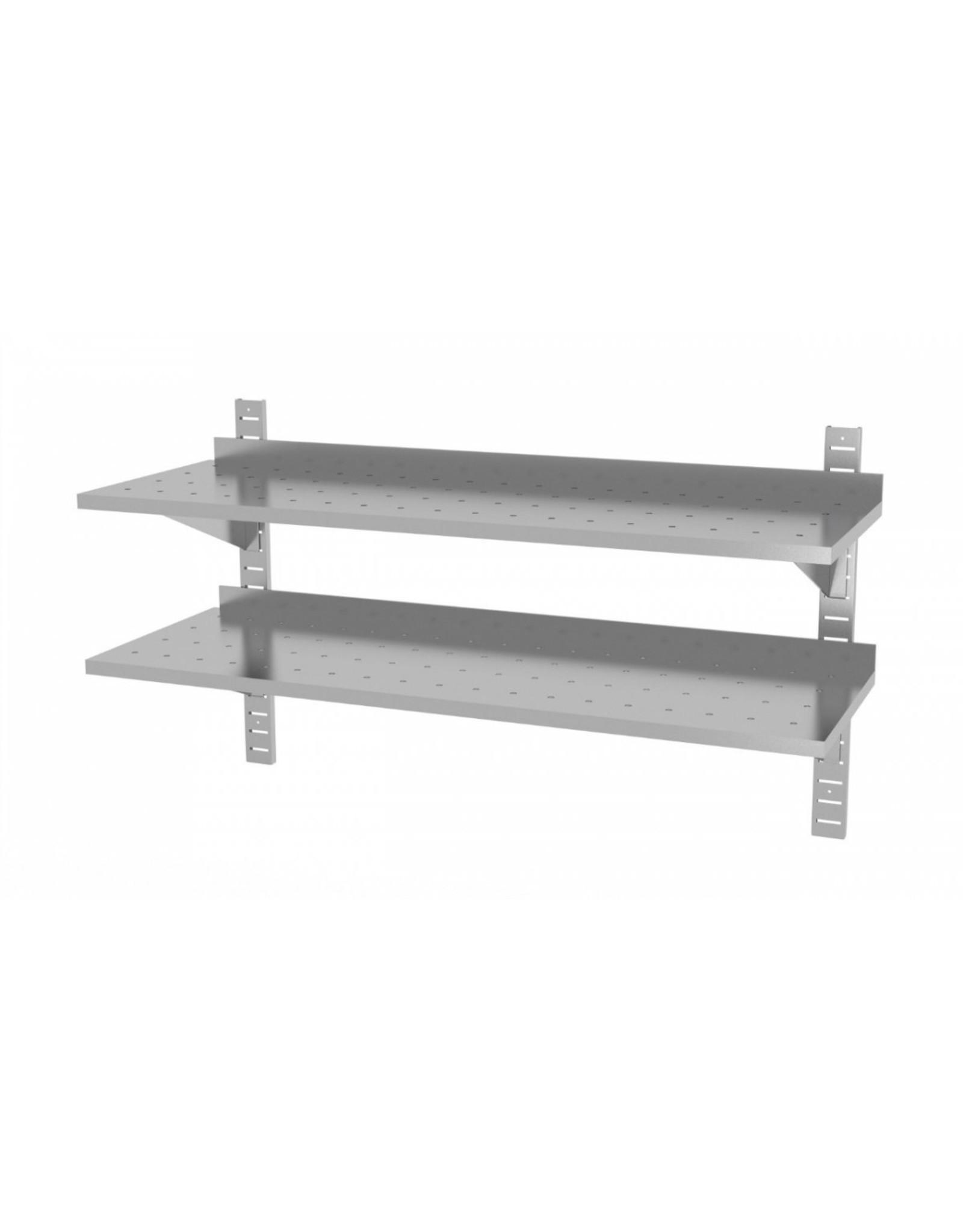 Wandplank geperforeerd | 2 planken | met 2 beugels | 600-1500mm breed | 300 of 400mm diep