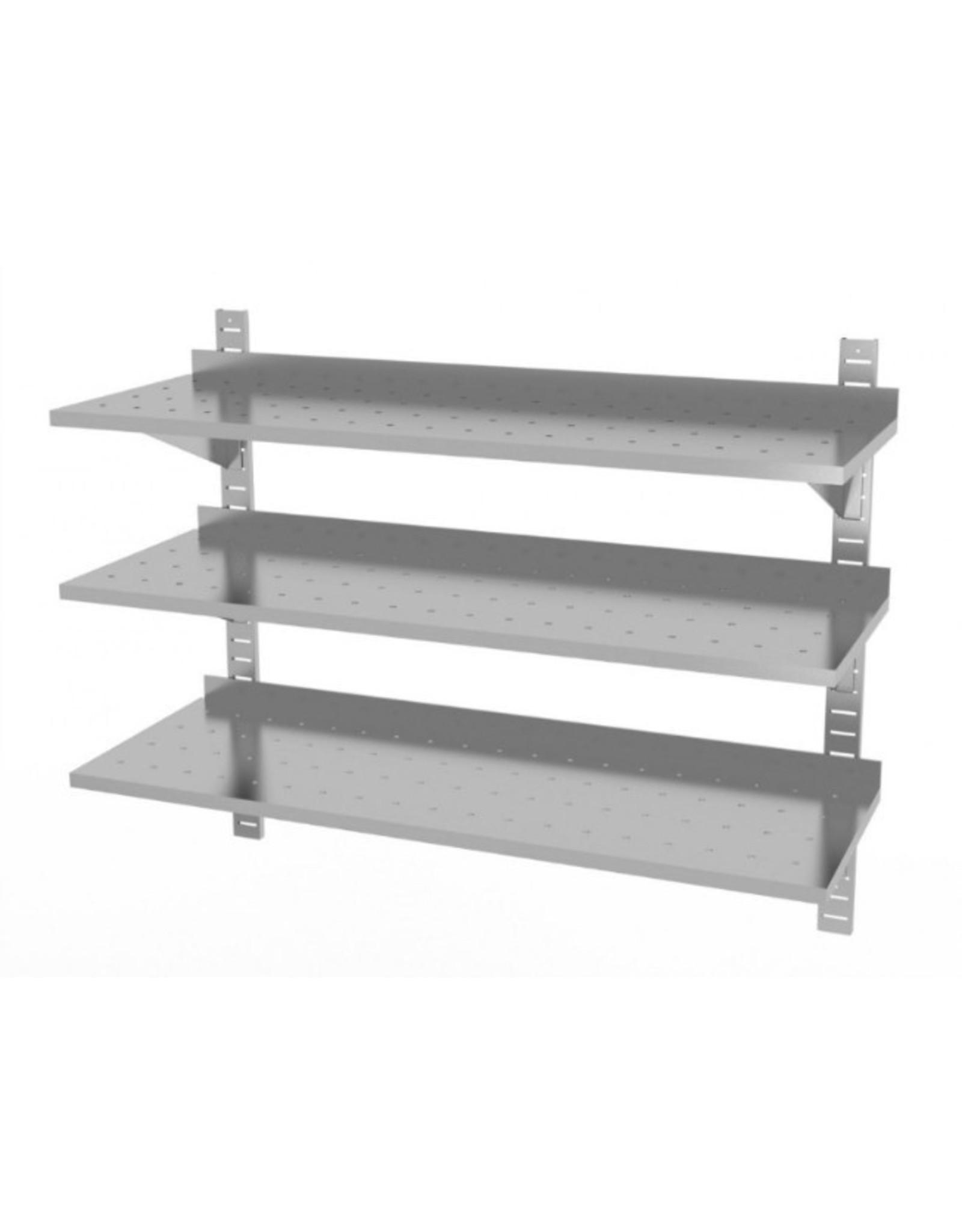 Wandplank geperforeerd | 3 planken | met 2 beugels | 600-1500mm breed | 300 of 400mm diep