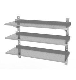 Wandplank geperforeerd | 3 planken | met 3 beugels | 1600-2000mm breed | 300 of 400mm diep